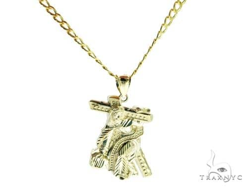 Jesus Crucifix Crossion Pendant and 22 Inches Hollow Cuban Chain Set 61720 Style