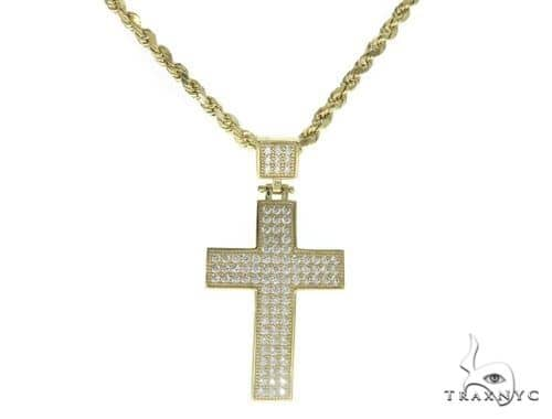 10K Gold Cross Crucifix and 24 Inches Hollow Rope Chain Set 61751 Style