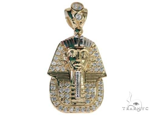 CZ 10K Yellow Gold Pharaoh Charm Pendant 61778 Metal