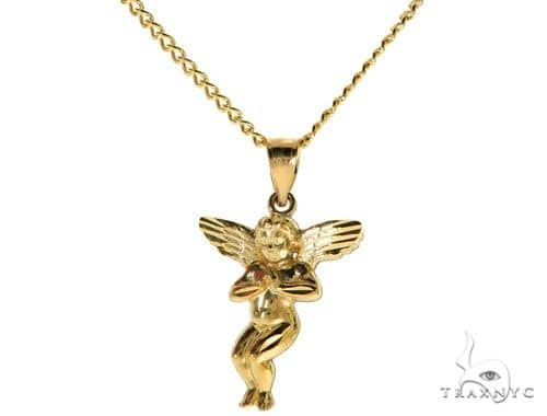 10K Yellow Gold Angel S Charm 24 Inches Cuban Link Chain Set 61807 Style