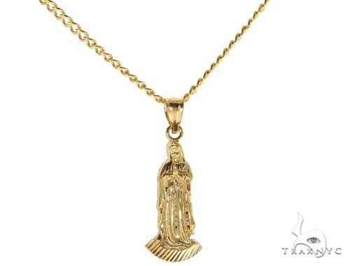 10K Yellow Gold Virgin Mary Charm 24 Inches Cuban Link Chain Set 61815 Style