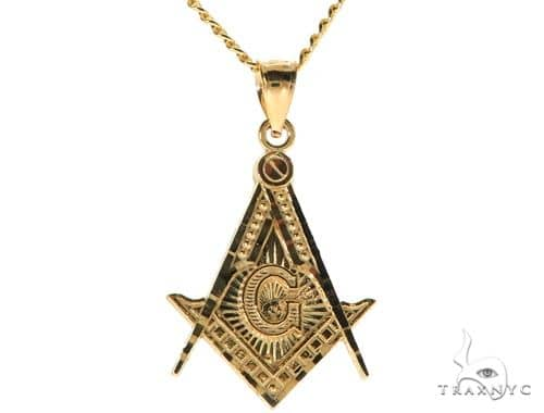 10K Yellow Gold Square and Compasses Masonic Instruments Charm 20 Inches Cuban Link Chain Set 61816 Style