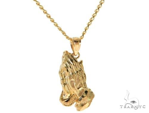 10K Yellow Gold Praying Hands Charm 22 Inches Cuban Link Chain Set 61819 Style