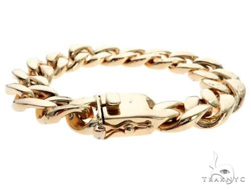 10K Yellow Gold Cuban Link Bracelet 7.5 Inches 14mm 92.0 Grams 62467 Gold
