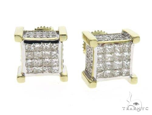 10K YG Micro Pave Invisible Diamond Dice Earrings 62515 Stone