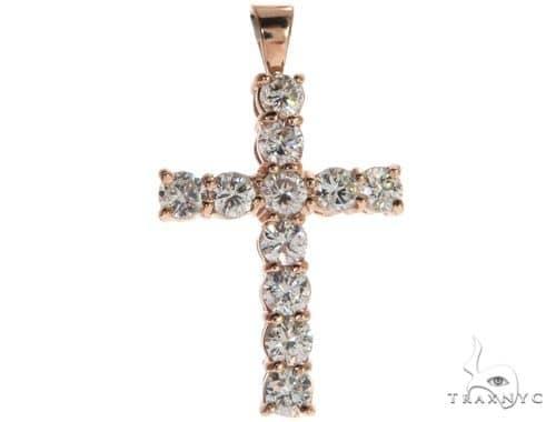 14K Rose Gold Prong Diamond Cross Crucifix 62533 Diamond