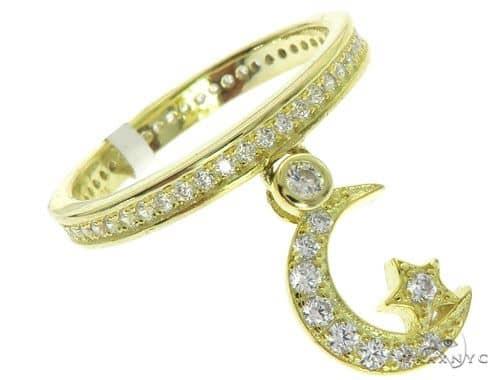Silver CZ Moon Eternity Ring Anniversary/Fashion