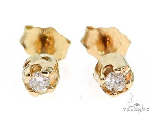 14K Yellow Gold Bezel Diamond Earrings 62552 Stone
