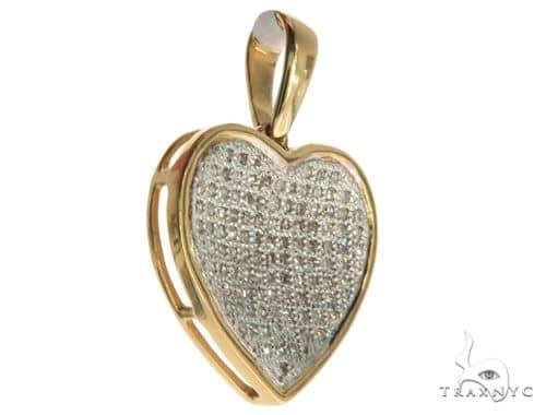 14K Yellow Gold Micro Pave Diamond Heart Charm Pendant 62556 Stone