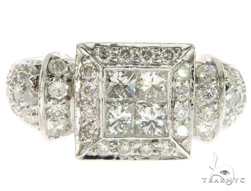 18K White Gold Invisible Prong Diamond Square Head Ring 62576 Anniversary/Fashion