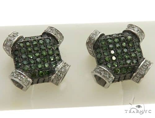 10k White Gold Micro Pave Diamond Stud Earrings 62578 Stone