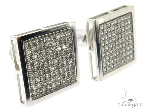 14K White Gold Micro Pave Diamond Square Stud Earings 62579 Stone