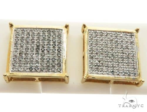 14K Yellow Gold Micro Pave Diamond Square Stud Earrings 62582 Stone