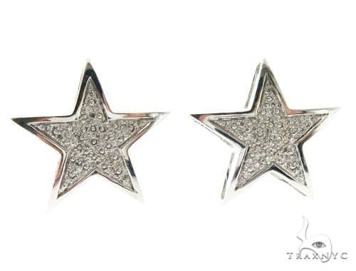 14K White Gold Micro Pave Star Stud Earrings 62599 Stone