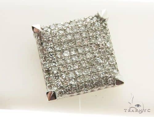 14K White Gold Micro Pave Diamond Single Stud Earring 62606 Stone