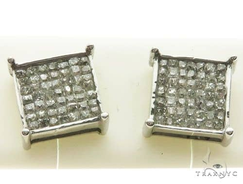14k White Gold Micro Pave Diamond Stud Earrings Stone