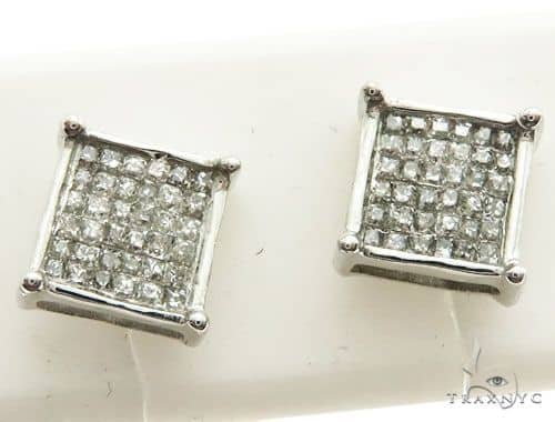 14K White Gold Micro Pave Diamond Stud Earrings 62617 Stone