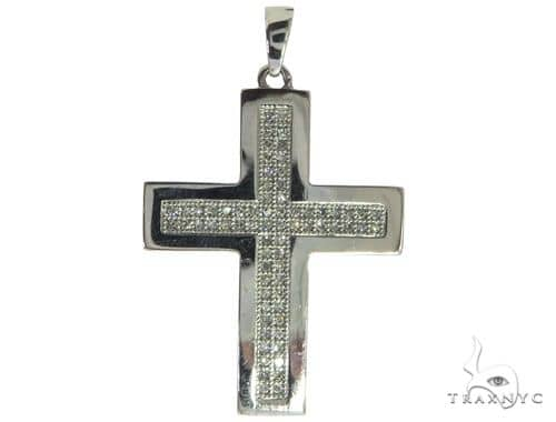 14K White Gold Micro Pave Diamond Cross Crucifix Pendant 62618 Diamond