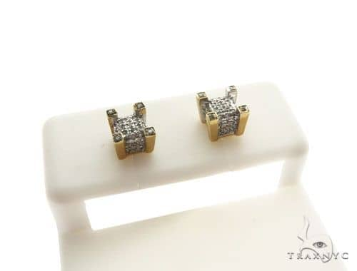 14K Yellow Gold Micro Pave Diamond Stud Earrings 62625 Stone
