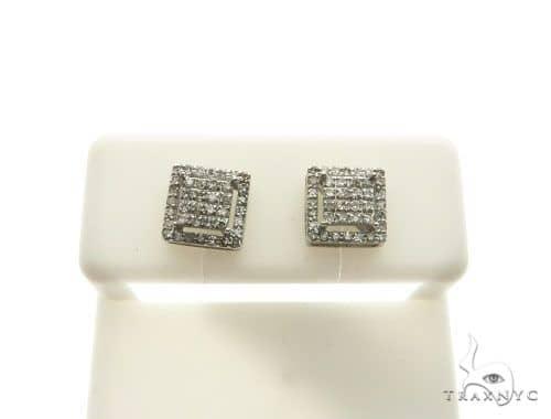 10K White Gold Micro Pave Diamond Stud Earrings 62627 Stone