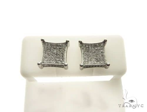 10K White Gold Micro Pave Diamond Stud Earrings 62628 Stone