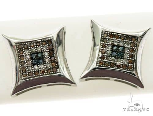 14K White Gold Micro Pave Diamond Stud Earrings 62999 Stone