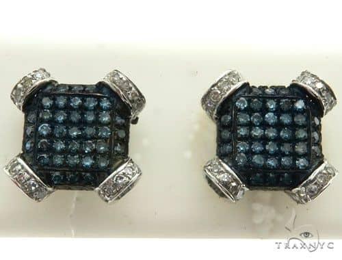 10K White Gold Micro Pave Diamond Stud Earrings 63014 Stone