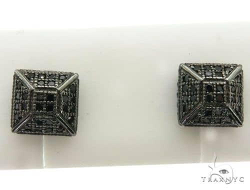10K Black Gold Micro Pave Diamond Stud Earrings 63016 Stone