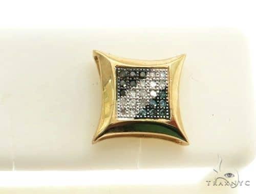14K Yellow Gold Micro Pave Diamond Stud Earring Stone