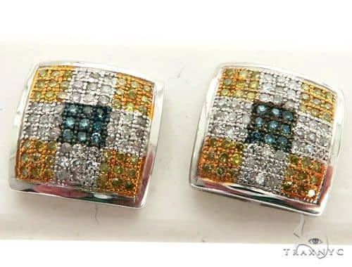 10K White Gold Micro Pave Diamond Stud Earrings 63023 Stone