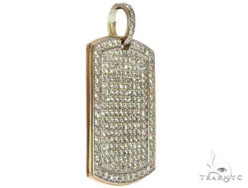 Engrave Your Text Diamond 14K Gold Dog Tag Charm Pendant Stone