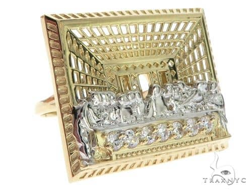 CZ 10K Two Tone Gold Last Supper Ring 63109 Metal