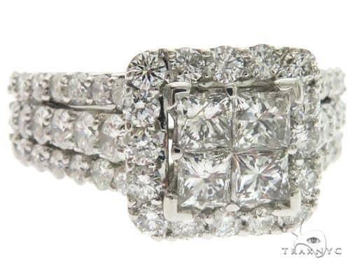 14K White Gold Prong Diamond Square Head Engagement Ring 63124 Engagement