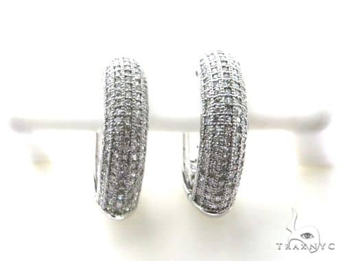 14K White Gold Micro Pave Diamond Stud Earrings 63131 Stone