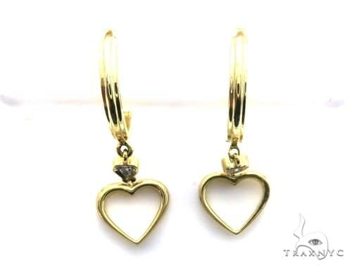 14K Yellow Gold Micro Pave Diamond Stud Heart Earrings 63135 Stone