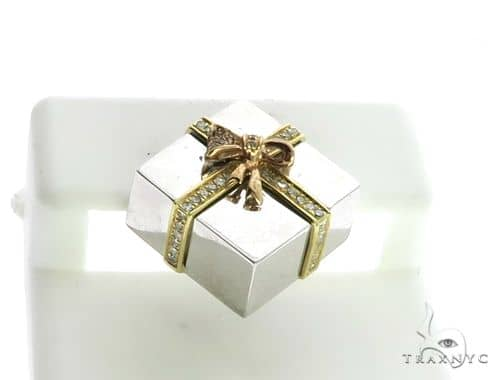 14K White & Yellow Gold Micro Pave Diamond Stud Gift Box Pendant 63143 Stone