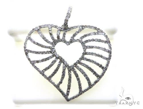 18K White Gold Micro Pave Diamond Stud Heart Pendant 63150 Stone