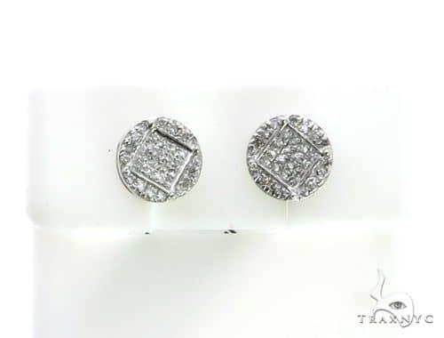 10K White Gold Micro Pave Diamond Stud Earrings. 63153 Stone