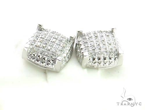 10K White Gold Micro Pave Diamond Stud Earrings. 63155 Stone