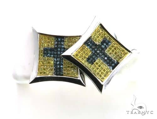14K White Gold Micro Pave Diamond Stud XL Earrings. 63157 Stone
