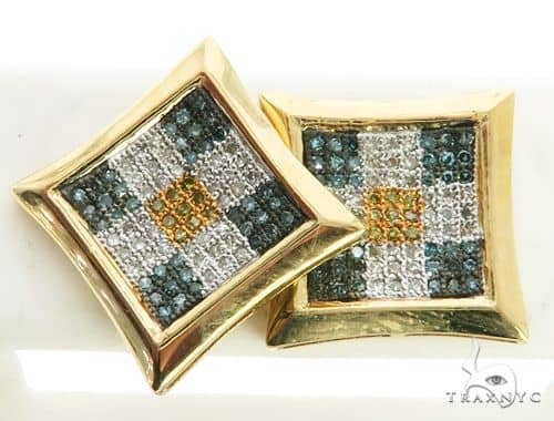 14K Yellow Gold Micro Pave Diamond Stud Earrings. 63158 Stone
