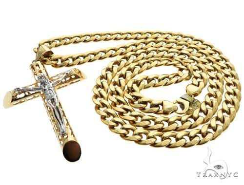 10K Two Tone Gold Crucifix Cross Hollow Cuban Curb Link Chain Set 63176 Style