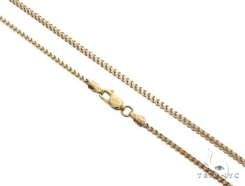 10K Yellow Gold Diamond Cut Franco Link Chain 26 Inches 2mm 12.4 Grams 63177 Gold