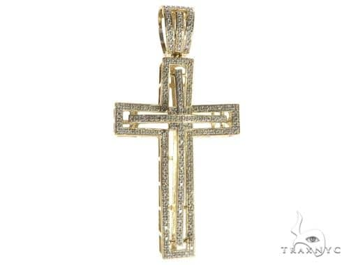 10K Yellow Gold Micro Pave Diamond Cross Crucifix 63184 Diamond