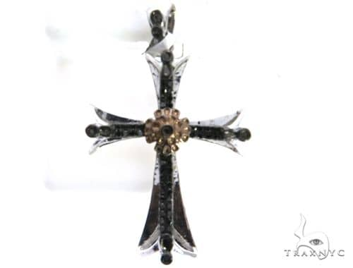 10K White Gold Micro Pave Diamond Cross Crucifix Pendant. 63195 Metal