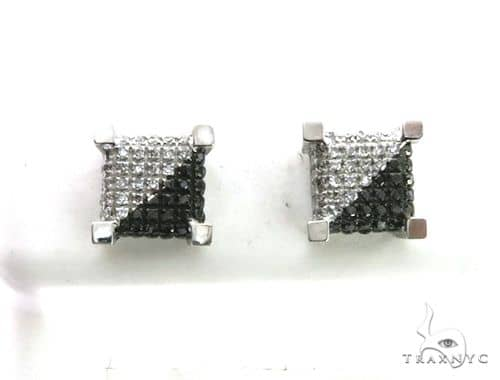 14K White Gold Micro Pave Diamond Stud Earrings. 63198 Stone