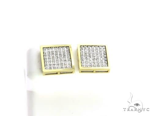 14K Yellow Gold Micro Pave Diamond XL Earrings. 63202 Stone