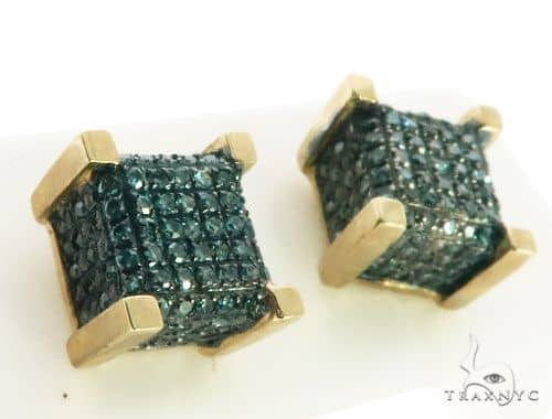 10K Yellow Gold Micro Pave Diamond Stud Earrings. 63218 Stone