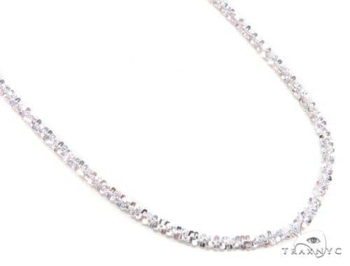 White Silver Glitter Chain 16 Inches, 2mm, 3.90 Grams 63269 Silver
