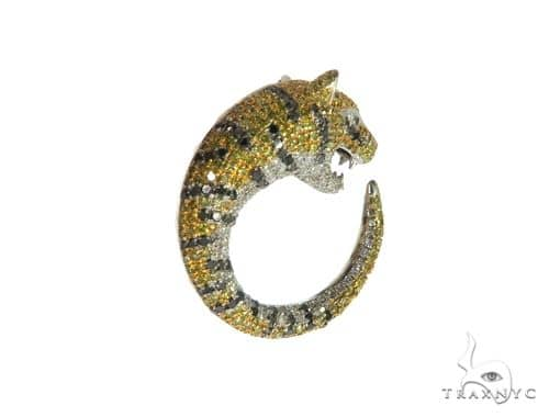 14K White Gold Micro Pave Tiger Pendant 63275 Metal